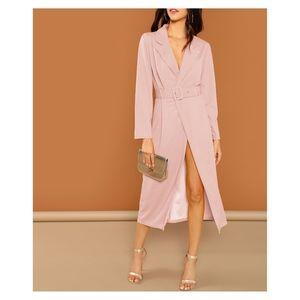 Blush Pink Belted Peak Collar Trench Dress